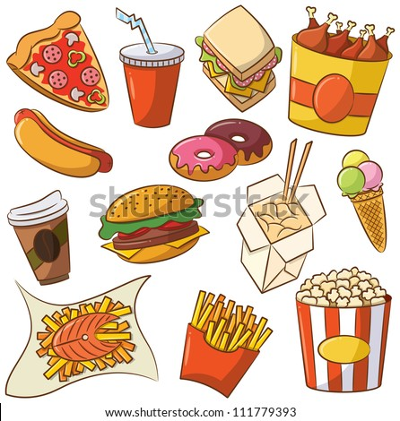 Vector illustration of junk food set