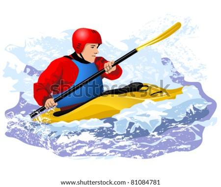 Vector illustration of kayaker