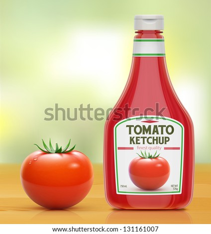 Vector illustration of ketchup bottle and fresh tomato on wooden kitchen table