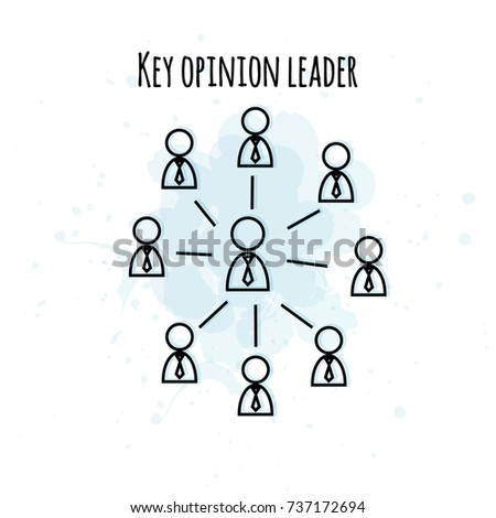 Vector illustration of key opinion leader. Simple line art style for market research in business. Good for designing icons, logo, presentations, banners, posters.