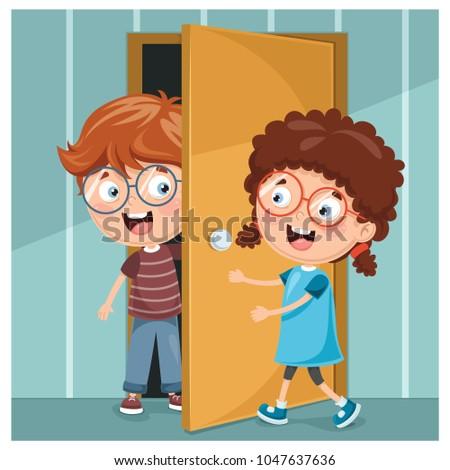 Vector Illustration Of Kid Opening The Door