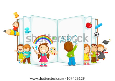 vector illustration of kid playing and reading with open book - stock vector