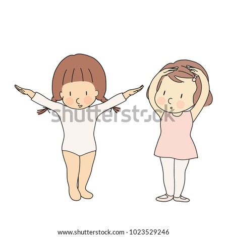 Vector illustration of kid professions, gymnastic & ballerina. What I want to be when grow up. Children occupations costume. Childhood development, education concept. Cartoon character drawing.