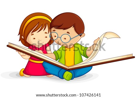 vector illustration of kid reading open book sitting on floor