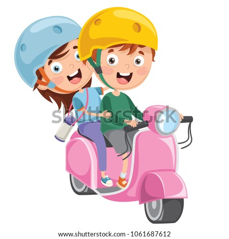 Vector Illustration Of Kid Riding Motorcycle