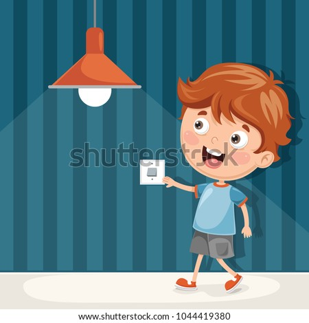 Vector Illustration Of Kid Turning On The Light