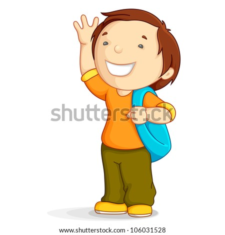 vector illustration of kid with school bag in bye bye gesture