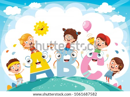 Vector Illustration Of Kids And Alphabet Characters