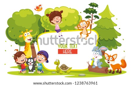 vector illustration of kids and