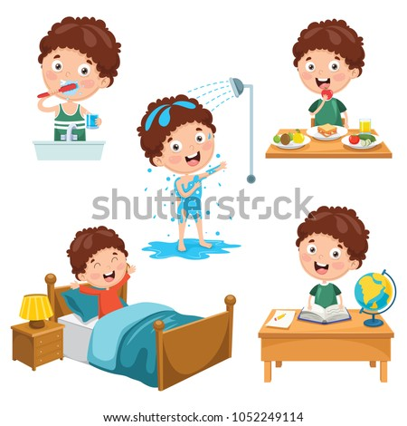Vector Illustration Of Kids Daily Routine Activities #1052249114