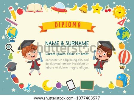 Vector Illustration Of Kids Diploma