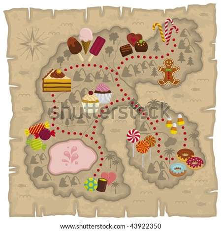 Vector illustration of kids dreamland map â?? candies and sweets land map