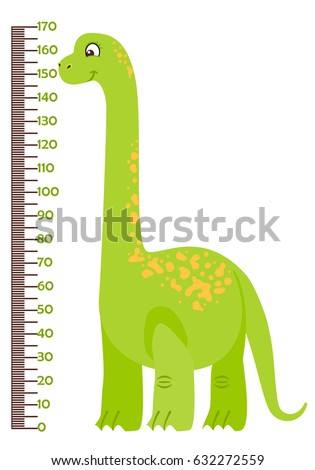 Vector illustration of kids height chart with cartoon dinosaur. Meter wall or baby scale of growth in flat style