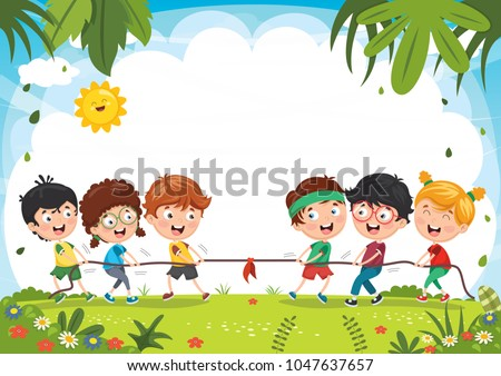 Vector Illustration Of Kids Pulling The Rope