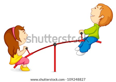 vector illustration of kids riding on seesaw