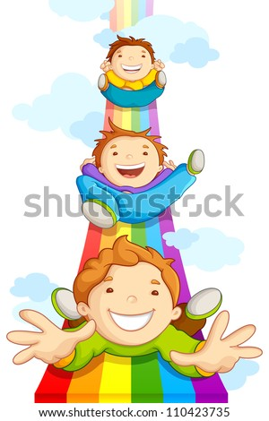 vector illustration of kids sliding on rainbow in sky