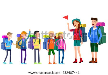 vector illustration of kids summer camp. Vector characters  counselor and children. Camping banner and icon