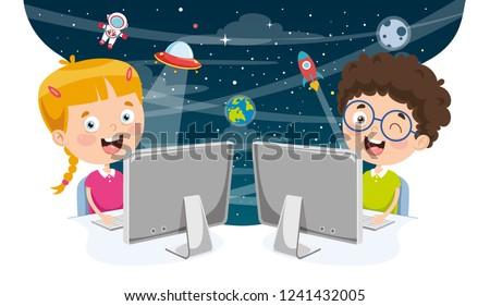 Vector Illustration Of Kids Using Computer
