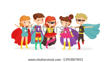 Vector illustration of kids wearing colorful superhero costumes. Superhero kids have fun together, children friends on costume party isolated on white background, cartoon flat style.