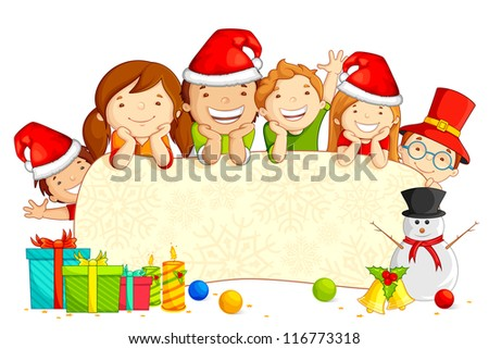 vector illustration of kids wearing Santa cap with snowman and Christmas gift