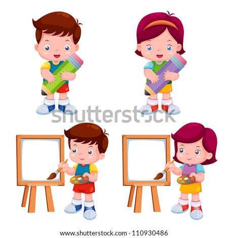 vector illustration of kids
