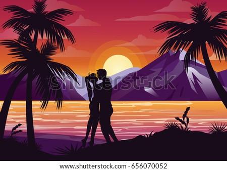 vector illustration of kissing