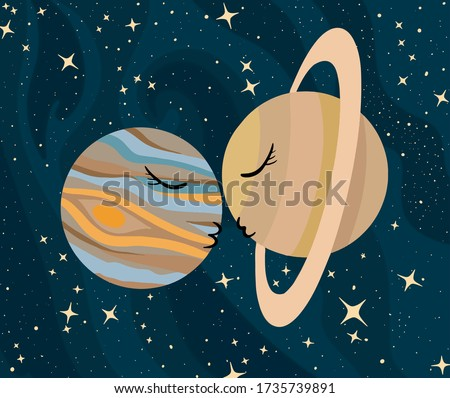 Vector illustration of kissing planets. Great conjunction of the planets Jupiter and Saturn.