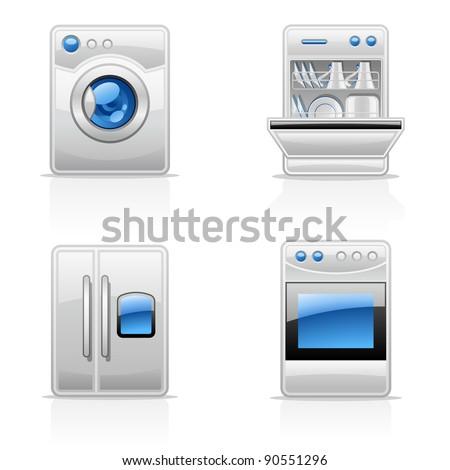 Vector illustration of kitchen appliances on white background