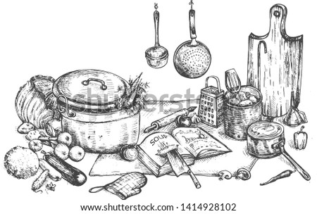Vector illustration of kitchen cooking at home still life. Utensils, cookbook, board, chief knife, pot, pan, vegetables, soup recipe. Vintage hand drawn style.