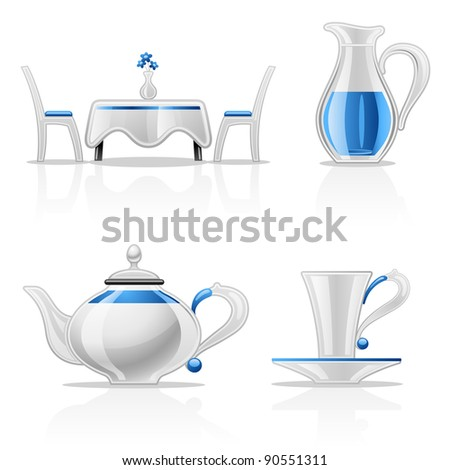 Vector illustration of kitchen items on white background