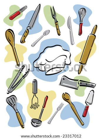 Vector illustration of kitchen utensils surrounding a chef's hat.