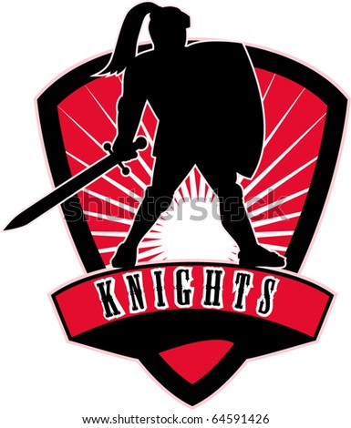 "vector illustration of Knight silhouette with sword shield side sunburst in background set inside shield with words ""Knights"" suitable as mascot for sports sporting club  organization"