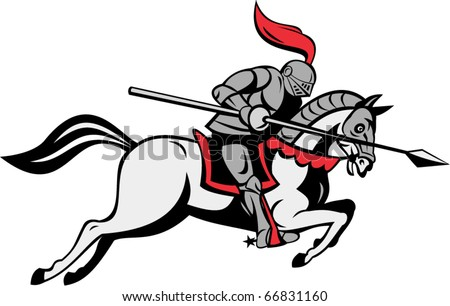 vector illustration of knight with lance riding horse isolated on white