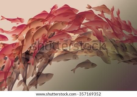 vector illustration of koi fish