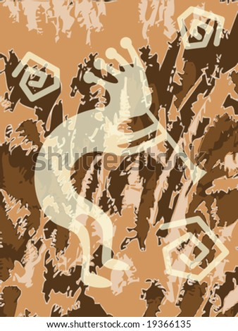 Vector illustration of kokopelli trickster with textured background.