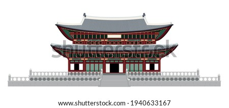 Vector illustration of Korean-style house hanok in flat style. Traditional style Gyeongbokgung Palace card, invitation, poster or banner template. EPS10