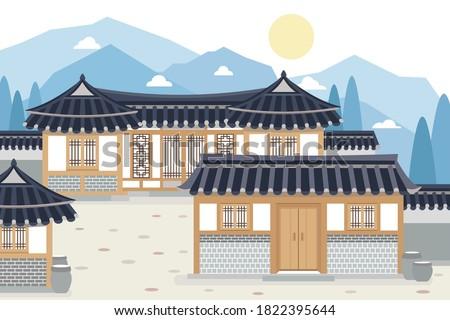 Vector illustration of Korean traditional village, hanok village
