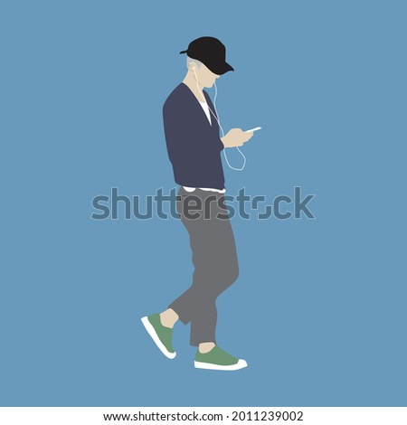 Vector illustration of Kpop street fashion. Street idols of Koreans. Fashion for male idols Kpop. A guy in a blue cardigan and gray trousers and holding a phone with headphones in his hands. Stok fotoğraf ©
