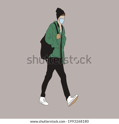Vector illustration of Kpop street fashion. Street idols of Koreans. Kpop male fashion idol. A guy in black jeans and a green jacket and a black backpack and with white sneakers and a mask on his face Stok fotoğraf ©