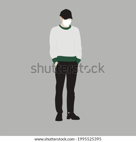 Vector illustration of Kpop street fashion. Street idols of Koreans. Kpop male fashion idol. A guy in black jeans and a gray sweatshirt with a mask on his face. Stok fotoğraf ©