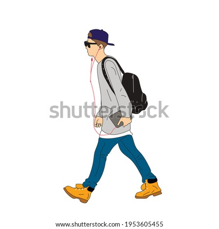 Vector illustration of Kpop street fashion. Street idols of Koreans. Kpop male idol fashion. A guy in blue jeans and a gray sweatshirt, a backpack on his back. Stok fotoğraf ©