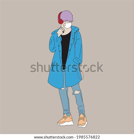 Vector illustration of Kpop street fashion. Street idols of Koreans. Kpop men's fashion idol. A guy in a blue jacket and jeans with headphones and a mask on his face. Stok fotoğraf ©