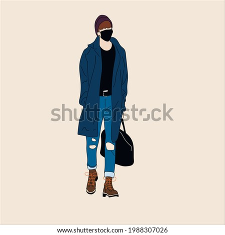 Vector illustration of Kpop street fashion. Street idols of Koreans. Kpop men's fashion idol. A guy in blue jeans and a raincoat and boots with a black bag and a mask on his face. Stok fotoğraf ©