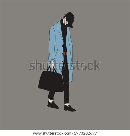 Vector illustration of Kpop street fashion. Street idols of Koreans. Kpop men's fashion idol. A guy in black pants, a blue coat with a mask on his face and a black bag. Stok fotoğraf ©