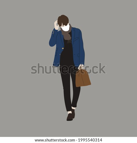 Vector illustration of Kpop street fashion. Street idols of Koreans. Kpop men's fashion idol. A guy in black pants and a brown bag with a mask on his face. Stok fotoğraf ©