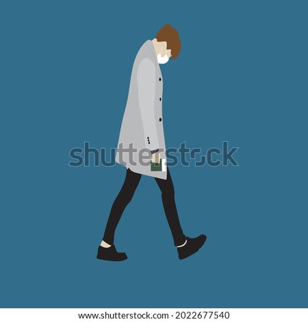 Vector illustration of Kpop street fashion. Street idols of Koreans. The idol of Kpop men's fashion. A guy in a gray coat and black trousers and with a mask on his face. Stok fotoğraf ©