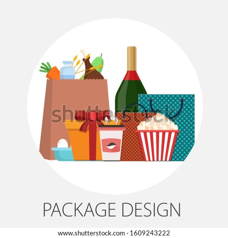 """Vector illustration of label and packaging concept with """"packaging design"""" branding and package icon."""