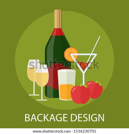 """Vector illustration of label & packaging concept with """"packaging design"""" branding and package icon."""