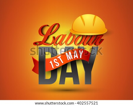 Vector illustration of Labour Day 3d typography concept with safety cap.