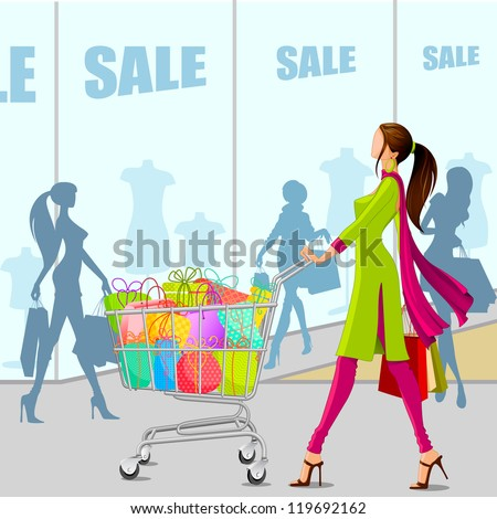 vector illustration of lady in salwar suit with shopping cart